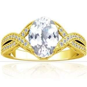 14K Yellow Gold Oval Cut White Sapphire Fana Designer Ring Jewelry
