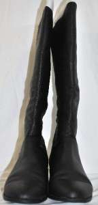 LADIES BLACK GENUINE PEBBLE LEATHER HIGH TOP RIDING BOOTS LOW HEEL