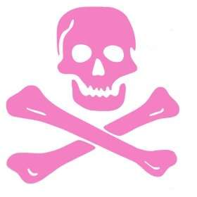 : Pirate Skull and Crossbones Large Wall Decal Sticker Pink 22 Baby