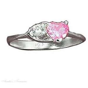 Sterling Silver Pink Ice Heart Cubic Zirconia In Open Heart Ring Size