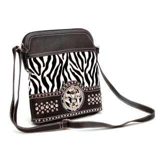 New Zebra Rhinestone Fleur De Lis Cross Body Messenger Bag Shoulder