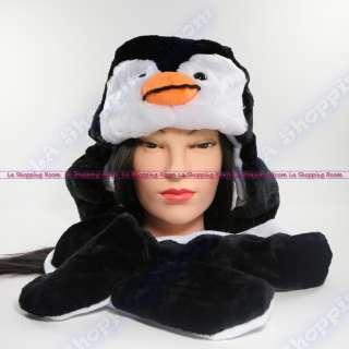 Penguin Winter Warm Black White Beanie Cap Soft Ski Hat Long Ear Flaps