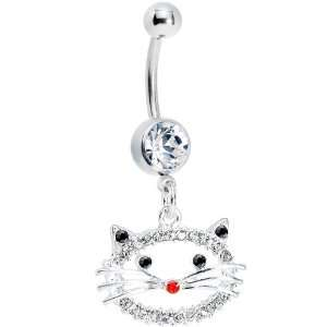 Crystalline Gem Kitty Cat Face Belly Ring Body Candy Jewelry