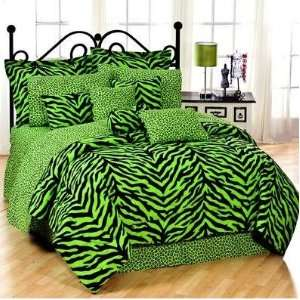 Karin Maki Zebra Twin Complete Bedding Set   Lime