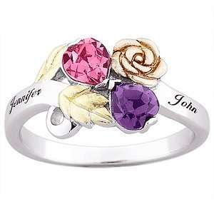 Color Sterling Silver Couples Birthstone Heart & Name Ring Jewelry