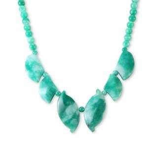 Polished Gemstone Beads Leaves Green Jade Necklace Jewelry
