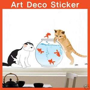 SS 58237 Cat & Fishbowl WALL ART DECOR STICKER FreeShip