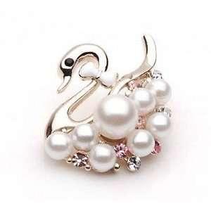 Swan and Pearl White Pink Rhinestone Crystal Brooch Breast