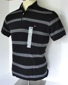 NEW Authentic Men TOMMY HILFIGER Black / Gray Flag Logo Polo Shirt S
