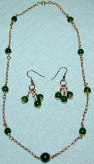 GREEN JADE NECKLACE AND EARRING SET W/GOLD CHAIN