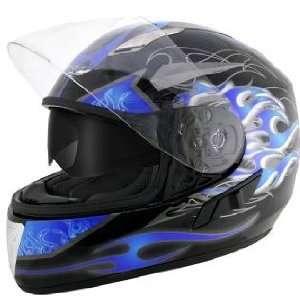 Advanced Dual Visor Flamma Blue Motorcycle Helmet Sz S