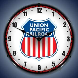 Retro Union Pacific Railroad Backlit Lighted Wall Clock