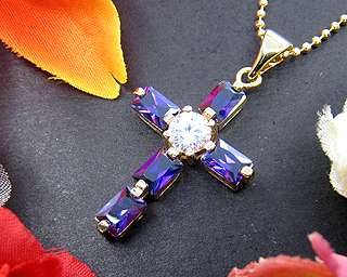 Cross Purple Amethyst Yellow Gold GP Pendant Necklace Free Chain For
