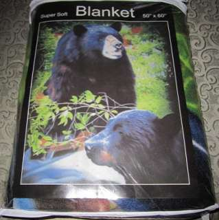 New Forest Black Bears Family Cubs Fleece Throw Blanket Design SOFT