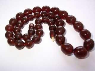 Fab Art Deco Cherry Amber Bakelite Round Bead Necklace 51 grams