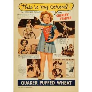 1937 Ad Quaker Oats Puffed Wheat Cereal Shirley Temple