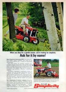 1968 Simplicity Sovereign Garden Tractor Original Color Ad