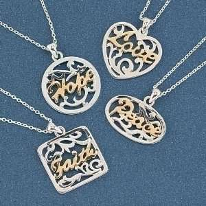 Pack of 32 Silver & Gold Carved Word Pendant Necklaces