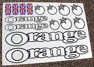 ORANGE Mountain Bike (white) MTB Cycle Frame Stickers