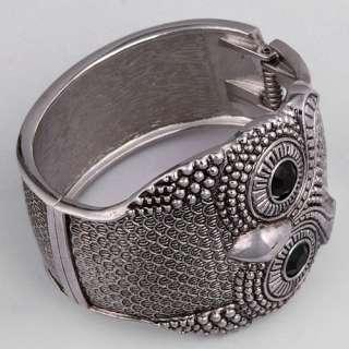 unisex ethnic tibetan silver open ended owl bangle bracelet fashion
