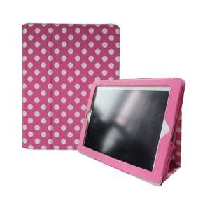 Stand Case Cover for iPad 2 / iPad 3 / The new iPad   Hot Pink & White