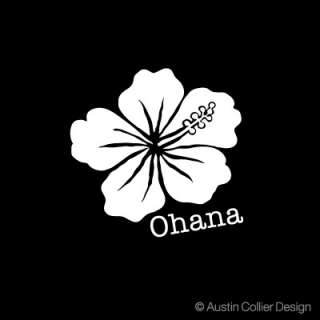 OHANA HIBISCUS Vinyl Decal Car Window Sticker   Hawaii