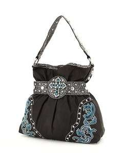 COWGIRL BLACK RHINESTONE CROSS GATHERED PURSE HANDBAG TOTE