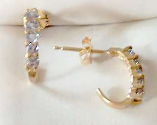 NEW LOVELY GENUINE TANZANITE HALF HOOK DESIGN EARRINGS 10KT SOLID GOLD