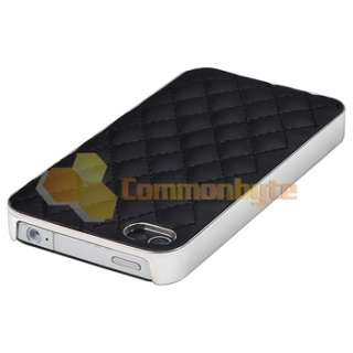 Black Leather w/ Silver Hard Case+PRIVACY Filter Protector for iPhone