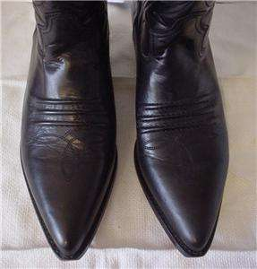 Vintage GUESS Black Leather Cowboy Boots Western Motorcycle Ladies