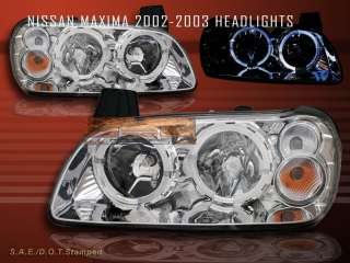 2002 2003 NISSAN MAXIMA CRYSTAL HALO HEADLIGHTS