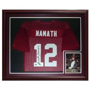 Joe Namath Autographed Alabama Crimson Tide (Maroon #12) Deluxe Framed