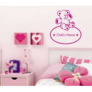Bear and Name Decal Sticker Wall Art Graphic Kid Room Nursery Boy Girl