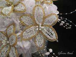 BEADED Lily Bride Bouquet Wedding Beads Gold Crystal
