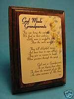 God Made Grandparents on Wall/Desk Wood Plaque Sku# 540