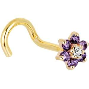 Clear Cubic Zirconia Flower Right Nostril Screw   18 Gauge Jewelry