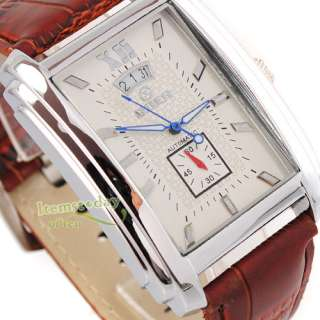 Elegant GOER Square White Face Mens Automatic Date Wrist Watch new