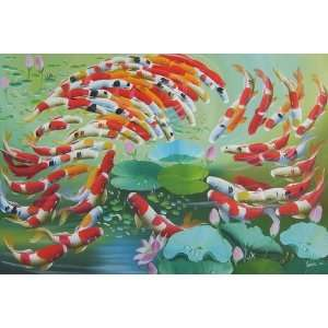 inch Oil Painting 99 Fortune Goldfishes in Lotus Pond: Home & Kitchen