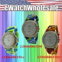 Pick 02 Wholesale Tie dye Rubber Strap Silicone CZ Jelly Watches