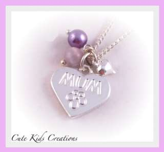 Personalised Mum Heart Necklace Nan Aunt Sister Friend