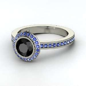 Roxanne Ring, Round Black Diamond Platinum Ring with