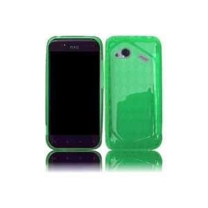 HTC Fireball TPU Rubber Skin Case with Inner Check Design   Neon Green