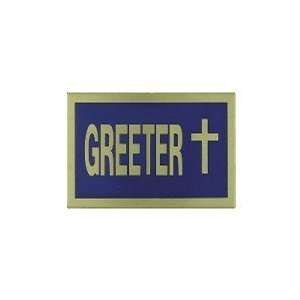 Greeter Blue/gold Badge Pack of 6