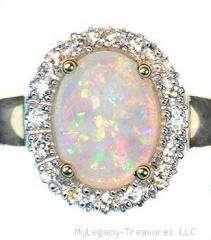 opal diamonds engagement 14K gold ring Australian love promise