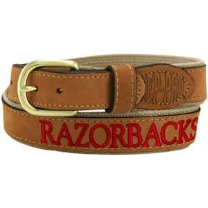: Arkansas Razorbacks Brown Leather Team Neam Belt: Sports & Outdoors