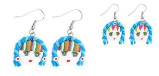 Blue Jewelry Handcraft Argil Cute Doll Pendent Earrings