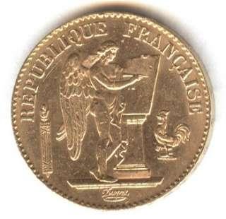 1894 French France LUCKY ANGEL GOLD bullion coin .1867 oz ounce 90% 20