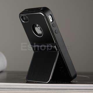 Black Aluminum TPU Hard Case Cover W/Chrome Stand+Free Pen&Film