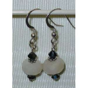 Swarovski Crystal Dangle Earrings Chaledony Off White 4746