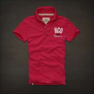 NWT Hollister HCO Mens Muscle Polo Tee Shirt Top L Large Cotton Pink